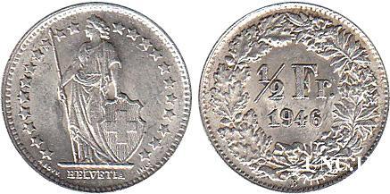 1/2 франка Ø18,0 мм. Ag-835, 2,50 г.