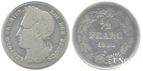 1/2 франка Ø18,0 мм. Ag-900, 2,4 г.