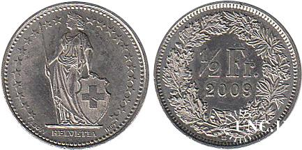 1/2 франка Ø18,0 мм. Cu-Ni, 2,20 г.