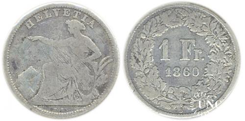 1 франк Ø23,0 мм. Ag-800, 4,7 г.