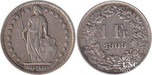 1 франк Ø23,0 мм. Ag-835, 5,0 г.