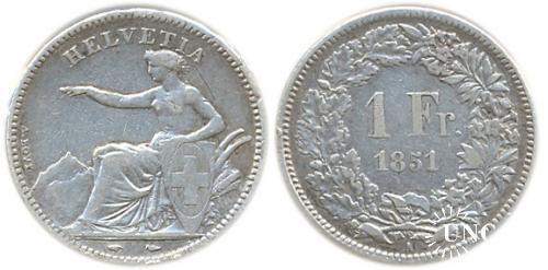 1 франк Ø23,0 мм. Ag-900, 5,00 г.