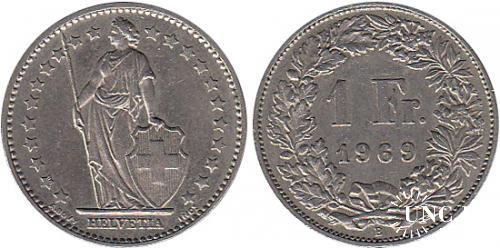 1 франк Ø23,0 мм. Cu-Ni, 4,40 г.