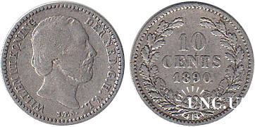 10 центів Ø15,0 мм. Ag-640, 1,4 г.
