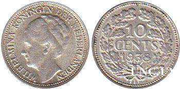 10 центів Ø15,0 мм. Ag-640, 1,40 г.