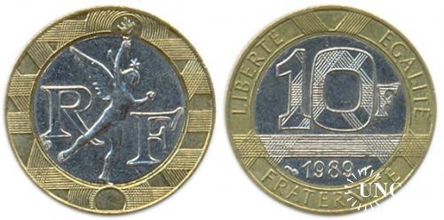 10 франков Ø23,0 мм. Bi-metalic, 6,50 г.