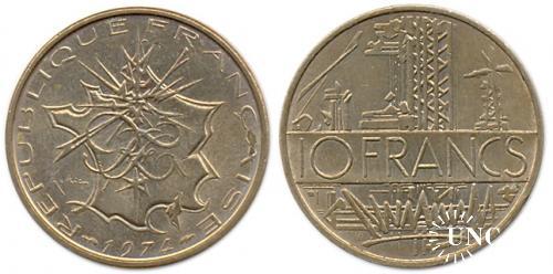 10 франков Ø26,0 мм. Cu-Ni, 10,00 г.