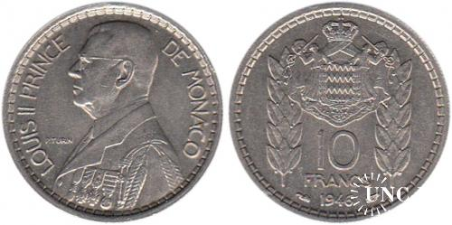 10 франков Ø26,0 мм. Cu-Ni, 7,1 г.
