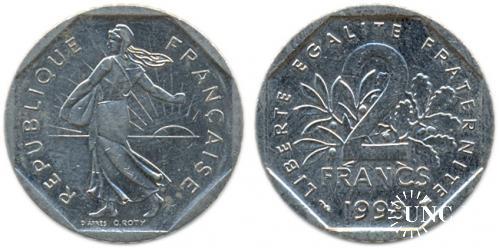 2 франка Ø26,5 мм. Ni, 7,50 г.