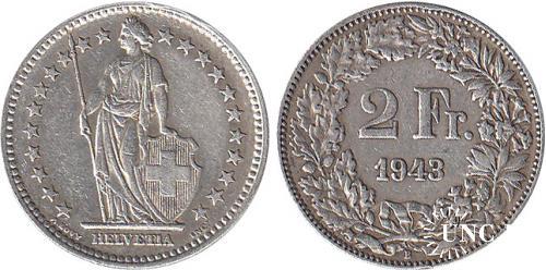 2 франка Ø27,0 мм. Ag-835, 10,0 г.