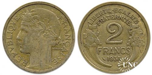 2 франка Ø27,0 мм. Al-Bronze, 8,00 г.
