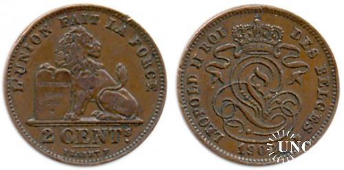 2 сантима Ø21,5 мм. Bronze, 4,00 г.