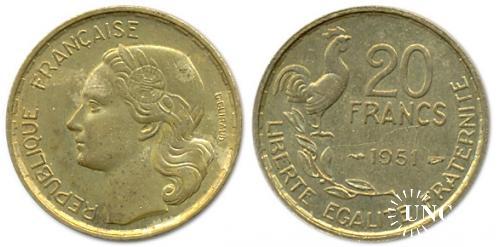 20 франков Ø23,0 мм. Al-Bronze, 4,00 г.