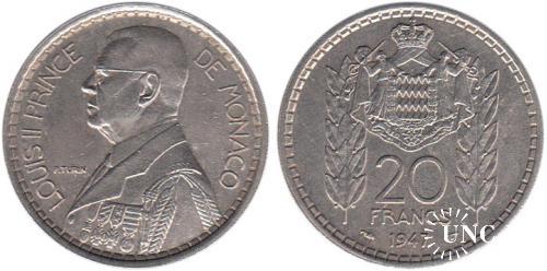 20 франков Ø30,0 мм. Cu-Ni, 10,1 г.