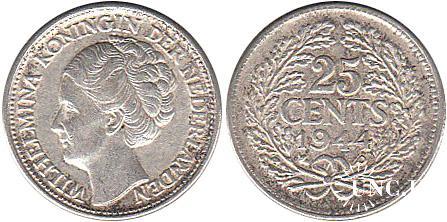25 центів Ø19,0 мм. Ag-640, 3,58 г.