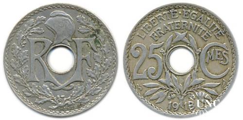 25 сантим Ø24,0 мм. Cu-Ni, 5,00 г.