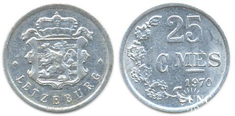 25 сантимов Ø18,5 мм. Al, 0,70 г.