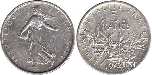 5 франков Ø29,0 мм. Ag-835, 12,0 г.