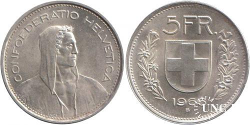 5 франков Ø33,5 мм. Ag-835, 15,0 г.