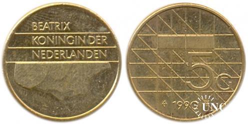 5 гульденов Ø23,5 мм. Ni/Brass, 9,25 г.
