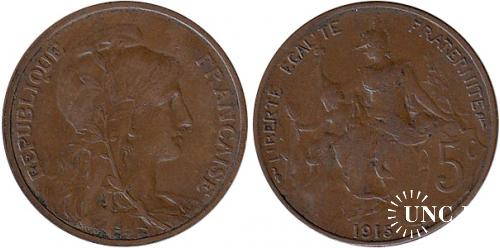 5 сантим Ø25,0 мм. Bronze, 5,0 г.