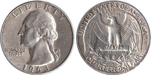 Квотер (1/4 долара) Ø24,3 мм. Ag-900, 6,25 г.