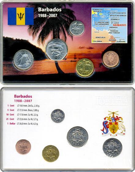 Набір монет: 1 долар, 25, 10, 5, 1 цент