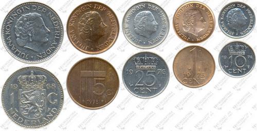 Підборка монет: 1 гульден, 25, 10, 5, 1 цент