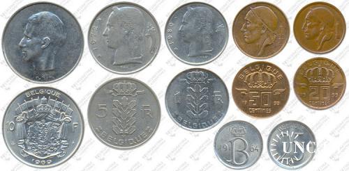 Підборка монет: 10, 5, 1 франк, 50, 25, 20 сантим