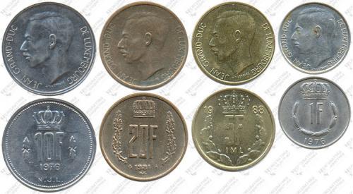 Підборка монет: 20, 10, 5 и 1 франк