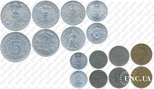 Підборка монет: 5, 2, 1 шилінг, 50, 20, 10, 5, 2 грошена