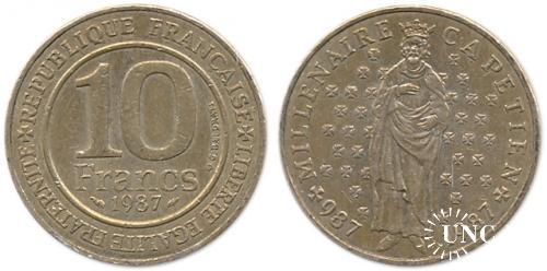 Ювілейна: 10 франков Ø26,0 мм. Cu-Ni, 10,00 г.