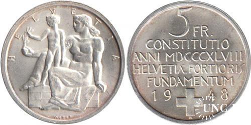 Ювілейна Ag: 5 франков Ø33,5 мм. Ag-835, 15,0 г.