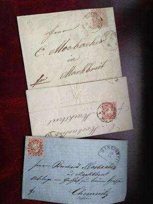 Письма Германия 3шт. 1870-7174 марка 3 Крейсера Автограф Адвокат История