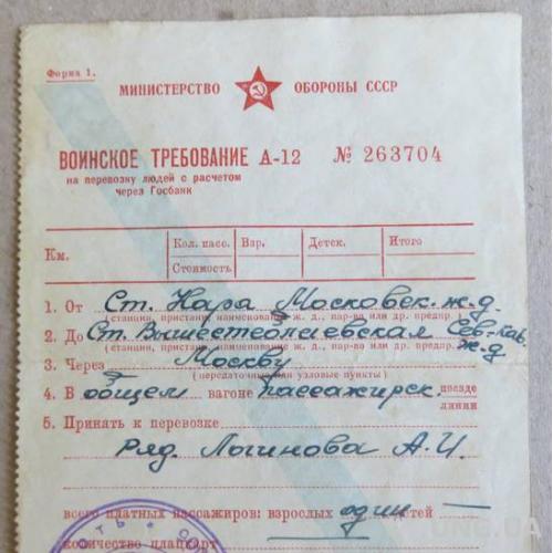 Воинское требование 1965 год