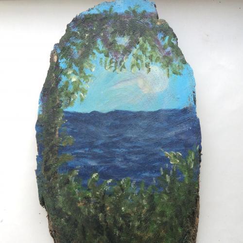 Авторская картина акрилом по срезу дерева 27х14 см 2018