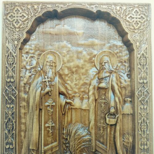 Икона из дерева Св. Прп. Зосима и Савватий Покровители пчеловодства