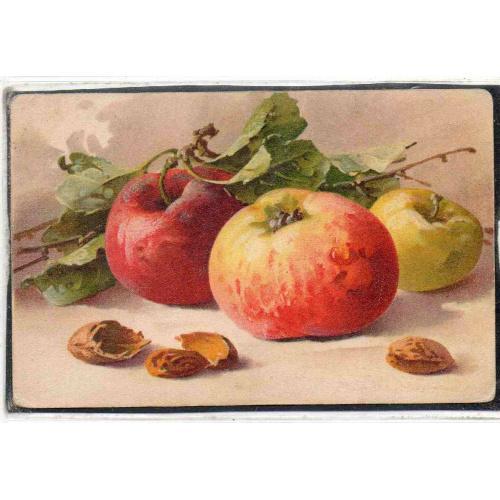 Поздравлением рождения, старинные открытки яблоки и цветы