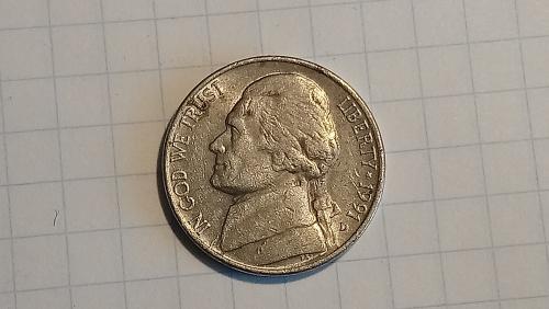 5 центов (cents) 1991 года D США