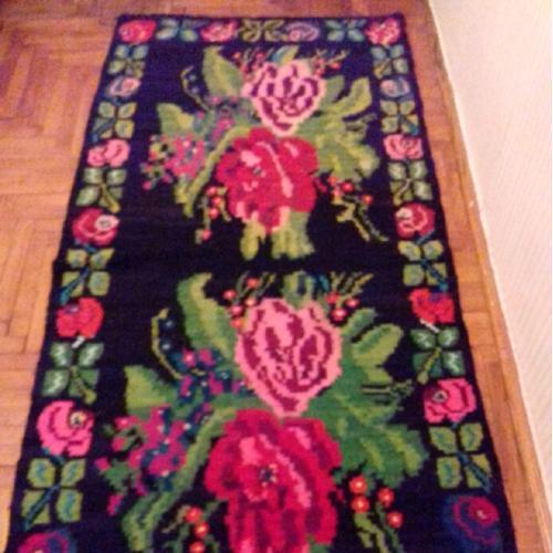 Винтажный шерстяной ковёр ручной работы