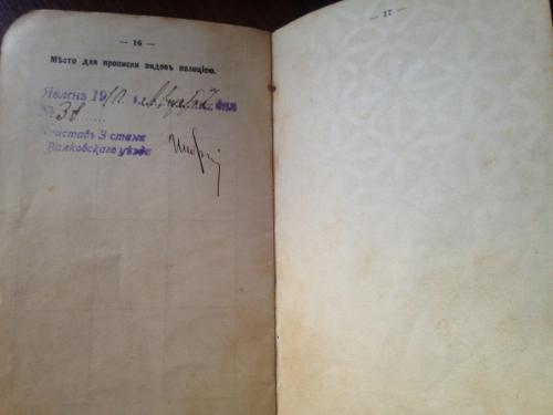 Царский паспорт 1910 г