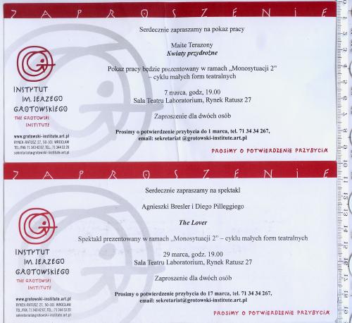2 пригласительных билета на спектакли в Институт им. Ежи Гротовского, Вроцлав, Польша.