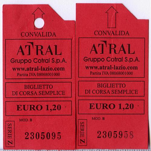 2 разовых билета на проезд общ.перевозчика Atral Gruppo Cotral S.p.a., Рим, Италия.