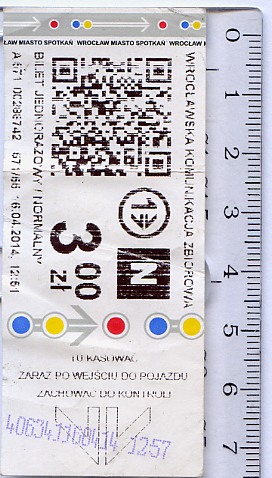 Билет одноразовый нормальный,  Вроцлав, Республика Польша.