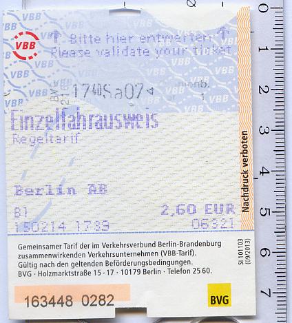 Билет в один конец, VBB-тариф, Берлин-Бранденбург.