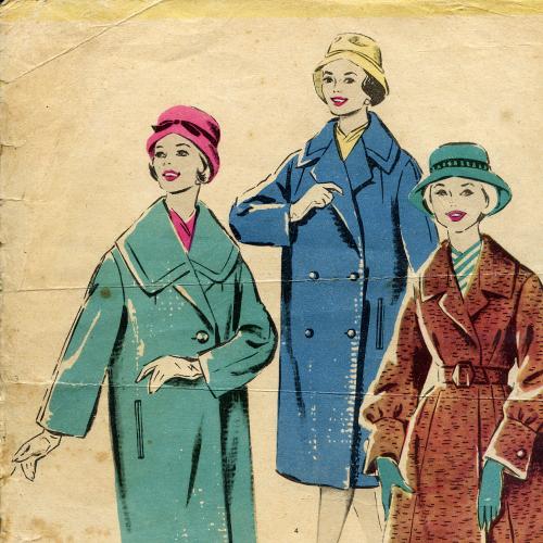 Неполное издание графических эскизов женских костюмов 60-70гг. в размерах 24,3х34,5см объемом 26 стр
