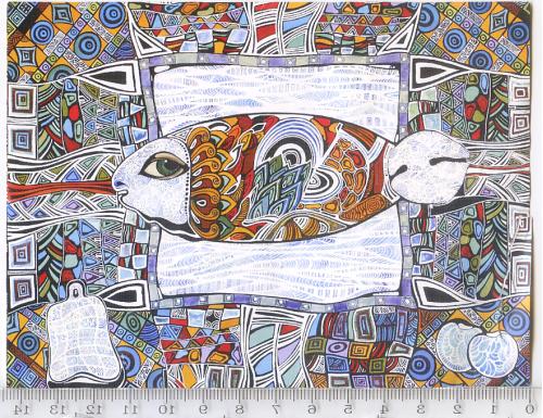 Пригласительная открытка-билет 2010г. на выставку Насти Уваровой в Одесский арт-центр «Ника»