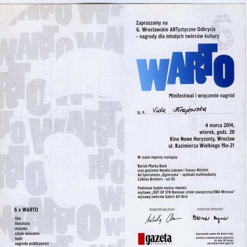 Пригласительный билет на церемонию награждения Warto, Вроцлав, Польша.
