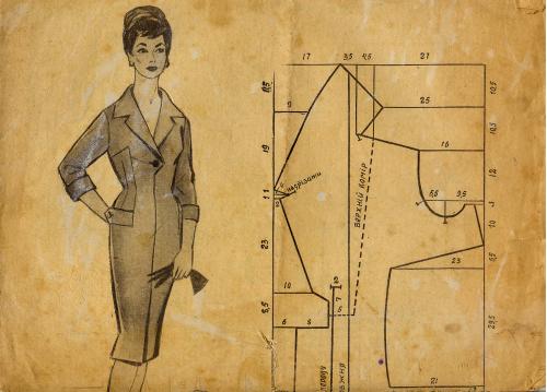 Складное приложение-выкройка А2 к журналу «Радянська жiнка» №1 за 1960г. с 5 графическими эскизами.