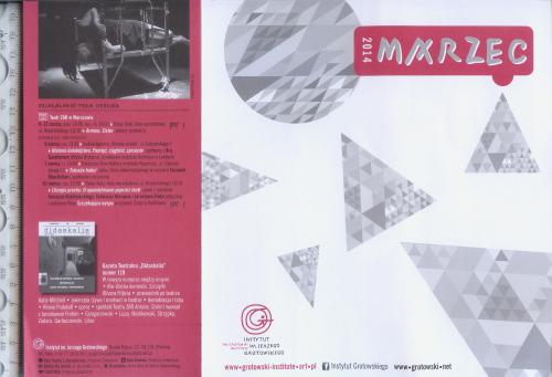Театр. программка 2014 г. цикла малых театральных форм Института им. Ежи Гротовского во Вроцлаве.